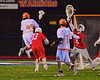 Liverpool Warriors Dominic Castiglia (27) scores the overtime goal against the Baldwinsville Bees in Boys Lacrosse on Tuesday, April 29, 2014 at Liverpool, New York. Liverpool won 14-13 in overtime.