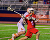 Baldwinsville Bees Stephen Petrelli (9) heading in towards the Liverpool Warriors net in Boys Lacrosse on Tuesday, April 29, 2014 at Liverpool, New York, Liverpool won 14-13 in overtime.