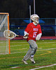 Baldwinsville Bees goalie Daniel Thomas (15) bringing the ball up field against the Liverpool Warriors in Boys Lacrosse on Tuesday, April 29, 2014 at Liverpool, New York, Liverpool won 14-13 in overtime.