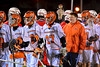 Liverpool Warriors players line up to shake the hands of the Baldwinsville Bees players in Boys Lacrosse on Tuesday, April 29, 2014 at Liverpool, New York, Liverpool won 14-13 in overtime.
