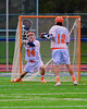 Liverpool Warriors goalie Kyle Halladay (24) makes a save against the Baldwinsville Bees in Boys Lacrosse on Tuesday, April 29, 2014 at Liverpool, New York, Liverpool won 14-13 in overtime.