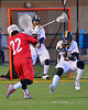 Baldwinsville Bees Jake Anderson (22) about to fire a shot at West Genesee Wildcats goalie Matt Koziol (19) in Boys Lacrosse on Tuesday, April 8, 2014 at Camillus, New York. West Genesee won 8-5.