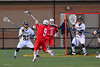 Baldwinsville Bees Stephen Petrelli (9) takes a jump shot at the West Genesee Wildcats net in Boys Lacrosse on Tuesday, April 8, 2014 at Camillus, New York. West Genesee won 8-5.