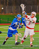 Baldwinsville Bees Cody Luke (3) passes the ball against the Oswego Buccaneers in Section III Boys Lacrosse action in Fulton, New York on Thursday, May 1, 2014.  Baldwinsville won 13-9.