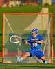 Oswego Buccaneers Trey Love (16) in goal against the Baldwinsville Bees in Section III Boys Lacrosse action in Fulton, New York on Thursday, May 1, 2014.  Baldwinsville won 13-9.