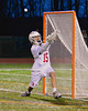 Baldwinsville Bees goalie Daniel Thomas (15) makes a save against the Oswego Buccaneers in Section III Boys Lacrosse action in Fulton, New York on Thursday, May 1, 2014.  Baldwinsville won 13-9.