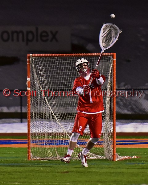 Baldwinsville Bees goalie Sean Coe (1) passes the ball up field against the West Genesee Wildcats in Section III Boys Lacrosse action at Nottingham High School in Syracuse, New York on Tuesday, March 31, 2015. West Genesee won 14-8.