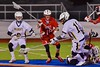 West Genesee Wildcats PJ Martinez (18) comes away with a ground ball against the Baldwinsville Bees in Section III Boys Lacrosse action at Nottingham High School in Syracuse, New York on Tuesday, March 31, 2015. West Genesee won 14-8.