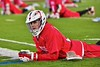 Baldwinsville Bees Ryan Gebhardt (20) during pre-game warm-ups before playing the West Genesee Wildcats in Section III Boys Lacrosse action at Nottingham High School in Syracuse, New York on Tuesday, March 31, 2015.