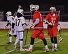 Baldwinsville Bees Matthew Dickman (24) congratulates Charlie Bertrand (6) on his goal against the West Genesee Wildcats in Section III Boys Lacrosse action at Nottingham High School in Syracuse, New York on Tuesday, March 31, 2015. West Genesee won 14-8.