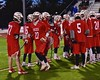 Baldwinsville Bees David Gullen (27) being introduced before playing the West Genesee Wildcats in Section III Boys Lacrosse action at Nottingham High School in Syracuse, New York on Tuesday, March 31, 2015.