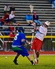Baldwinsville Bees Charlie Bertrand (6) shoots and scores against the Cicero-North Syracuse Northstars in Section III Boys Lacrosse action at the Pelcher-Arcaro Stadium in Baldwinsville, New York on Tuesday, May 12, 2015.  Baldwinsville won 7-4.