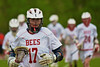 Baldwinsville Bees Jeffrey Egnoto (17) warming up before playing the Cazenovia Lakers in Section III Boys Lacrosse action at the Pelcher-Arcaro Stadium in Baldwinsville, New York on Saturday, May 9, 2015.  Cazenovia won 13-6.