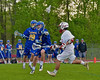 Cazenovia Lakers Adam Race (2) intercepts a pass from Baldwinsville Bees Dillon Darcangelo (10) in Section III Boys Lacrosse action at the Pelcher-Arcaro Stadium in Baldwinsville, New York on Saturday, May 9, 2015.  Cazenovia won 13-6.