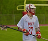 Baldwinsville Bees David Gullen (27) before putting the ball in play against the Cazenovia Lakers in Section III Boys Lacrosse action at the Pelcher-Arcaro Stadium in Baldwinsville, New York on Saturday, May 9, 2015.  Cazenovia won 13-6.