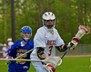 Baldwinsville Bees Matt Abbott (3) cradling the ball against the Cazenovia Lakers in Section III Boys Lacrosse action at the Pelcher-Arcaro Stadium in Baldwinsville, New York on Saturday, May 9, 2015.  Cazenovia won 13-6.