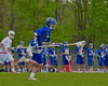 Cazenovia Lakers Adam Race (2) bringing the ball up field against the Baldwinsville Bees in Section III Boys Lacrosse action at the Pelcher-Arcaro Stadium in Baldwinsville, New York on Saturday, May 9, 2015.  Cazenovia won 13-6.