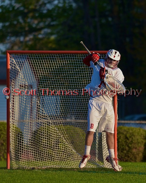 Baldwinsville Bees goalie Sean Coe (1) keeps the ball out of the net against the Central Square Redhawks in Section III Boys Lacrosse action at the Pelcher-Arcaro Stadium in Baldwinsville, New York on Thursday, May 7, 2015.  Baldwinsville won 19-6.