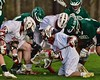 Baldwinsville Bees and Fayetteville-Manlius Hornets players go after a round ball in Section III Boys Lacrosse action at the Pelcher-Arcaro Stadium in Baldwinsville, New York on Friday, May 1, 2015.  Baldwinsville won 11-9.