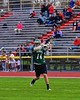 Fayetteville-Manlius Hornets Tyler Papa (14) looking to make a play against the Baldwinsville Bees in Section III Boys Lacrosse action at the Pelcher-Arcaro Stadium in Baldwinsville, New York on Friday, May 1, 2015.  Baldwinsville won 11-9.