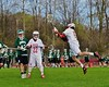 Baldwinsville Bees Peter Fiorni III (13) fires a shot at the Fayetteville-Manlius Hornets net in Section III Boys Lacrosse action at the Pelcher-Arcaro Stadium in Baldwinsville, New York on Friday, May 1, 2015.  Baldwinsville won 11-9.