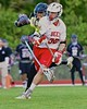 Baldwinsville Bees Evan Stolicker (32) with the ball against the Syracuse Cougars in Section III Boys Lacrosse Quarter Final Playoff action at the Pelcher-Arcaro Stadium in Baldwinsville, New York on Wednesday, May 20, 2015. Syracuse won 12-9.