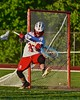Baldwinsville Bees goalie Riley Smith (35) gets scored upon by Syracuse Cougars Sterling Claflin (19, not pictured) in Section III Boys Lacrosse Quarter Final Playoff action at the Pelcher-Arcaro Stadium in Baldwinsville, New York on Wednesday, May 20, 2015. Syracuse won 12-9.