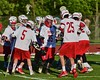 Baldwinsville Bees goalie Riley Smith (35) being introduced before playing the Syracuse Cougars in Section III Boys Lacrosse Quarter Final Playoff action at the Pelcher-Arcaro Stadium in Baldwinsville, New York on Wednesday, May 20, 2015. Syracuse won 12-9.