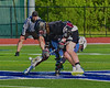 Syracuse Cougars Sean Eccles (13) wins a face-off against Auburn Maroons Kevin Munn (3) in Section III Boys Lacrosse Semi-Final game at the Michael J. Bragman Stadium in Cicero, New York on Saturday, May 23, 2015.  Auburn won 14-6.
