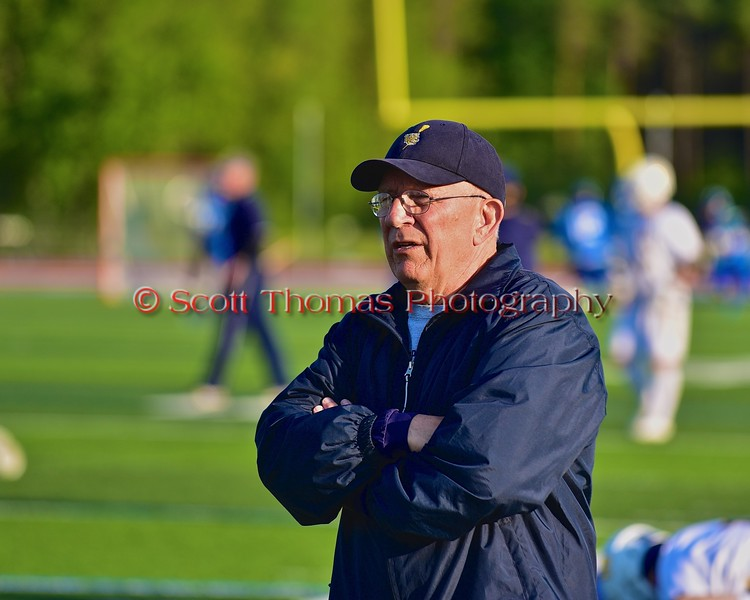 West Genesee Wildcats Head Coach Mike Messere before his team played the Cicero-North Syracuse Northstars in a Section III Boys Lacrosse Semi-Final game at the Michael J. Bragman Stadium in Cicero, New York on Saturday, May 23, 2015.