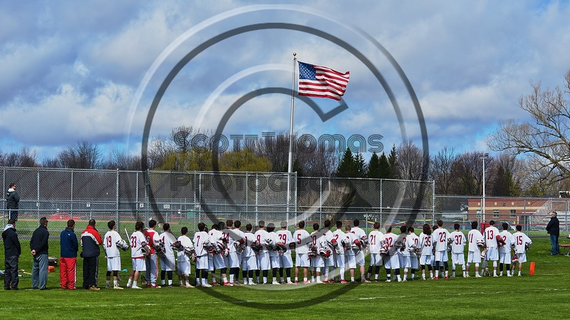 Baldwinsville Bees hosted the Skaneateles Lakers in Section III Boys Lacrosse action at the Pelcher-Arcaro Stadium in Baldwinsville, New York on Saturday, April 2, 2016.