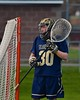 Skaneateles Lakers goalie Kyle Oschner (30) in net against the Baldwinsville Bees in Section III Boys Lacrosse action at the Pelcher-Arcaro Stadium in Baldwinsville, New York on Saturday, April 2, 2016.  Baldwinsville won 10-6.