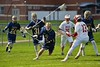 Skaneateles Lakers Sam Duggan (2) with the ball against the Baldwinsville Bees in Section III Boys Lacrosse action at the Pelcher-Arcaro Stadium in Baldwinsville, New York on Saturday, April 2, 2016.  Baldwinsville won 10-6.