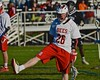 Baldwinsville Bees Connor Smith (26) celebrates his goal against the Syracuse Cougars in Section III Boys Lacrosse action at the Pelcher-Arcaro Stadium in Baldwinsville, New York on Thursday, April 14, 2016.  Baldwinsville won 11-6.