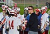 Baldwinsville Bees hosted the Syracuse Cougars in Section III Boys Lacrosse action at the Pelcher-Arcaro Stadium in Baldwinsville, New York on Thursday, April 14, 2016.  Baldwinsville won 11-6.