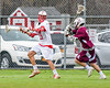 Baldwinsville Bees Kyle Pelcher (29) looking to make a play against the Auburn Maroons in Section III Boys Lacrosse action at the Pelcher-Arcaro Stadium in Baldwinsville, New York on Monday, May 2, 2016.  Baldwinsville won 16-6.