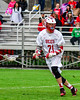 Baldwinsville Bees Brandon Mimas (21) looking to make a play against the Auburn Maroons in Section III Boys Lacrosse action at the Pelcher-Arcaro Stadium in Baldwinsville, New York on Monday, May 2, 2016.  Baldwinsville won 16-6.
