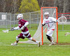 Baldwinsville Bees goalie Frank Delia (1) in net against the Auburn Maroons in Section III Boys Lacrosse action at the Pelcher-Arcaro Stadium in Baldwinsville, New York on Monday, May 2, 2016.  Baldwinsville won 16-6.