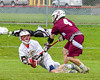Baldwinsville Bees hosted the Auburn Maroons in Section III Boys Lacrosse action at the Pelcher-Arcaro Stadium in Baldwinsville, New York on Monday, May 2, 2016.  Baldwinsville won 16-6.