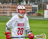 Baldwinsville Bees Ryan Gebhardt (20) playing against the Auburn Maroons in Section III Boys Lacrosse action at the Pelcher-Arcaro Stadium in Baldwinsville, New York on Monday, May 2, 2016.  Baldwinsville won 16-6.