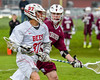 Baldwinsville Bees Cole Peters (37) with the ball against the Auburn Maroons in Section III Boys Lacrosse action at the Pelcher-Arcaro Stadium in Baldwinsville, New York on Monday, May 2, 2016.  Baldwinsville won 16-6.