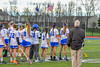 Cicero-North Syracuse Northstars players stand for the National Anthem before plyaing the West Genesee Wildcats in Section III Girls Lacrosse action at Bragman Stadium in Cicero, New York on Thursday, May 5, 2016.