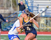 West Genesee Wildcats Alexa Meager (4) with the ball against the Cicero-North Syracuse Northstars in Section III Girls Lacrosse action at Bragman Stadium in Cicero, New York on Thursday, May 5, 2016.  West Genesee won 9-5.