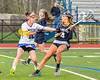 Cicero-North Syracuse Northstars Mary Kate Bonanni (10) checks West Genesee Wildcats Alexa Meager (4) in Section III Girls Lacrosse action at Bragman Stadium in Cicero, New York on Thursday, May 5, 2016.  West Genesee won 9-5.