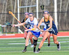 Cicero-North Syracuse Northstars Kaitlyn Lippert (13) and West Genesee Wildcats Alexa Meager (4) go after a loose ball in Section III Girls Lacrosse action at Bragman Stadium in Cicero, New York on Thursday, May 5, 2016.  West Genesee won 9-5.