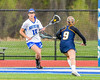 Cicero-North Syracuse Northstars Meghan Duffy (16) with the ball against the West Genesee Wildcats in Section III Girls Lacrosse action at Bragman Stadium in Cicero, New York on Thursday, May 5, 2016.  West Genesee won 9-5.