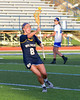 West Genesee Wildcats Mackenzie Baker (8) passing the ball against the Cicero-North Syracuse Northstars in Section III Girls Lacrosse action at Bragman Stadium in Cicero, New York on Thursday, May 5, 2016.  West Genesee won 9-5.