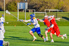 Cazenovia Lakers TJ Connellan (23) with the ball against the Baldwinsville Bees in Section III Boys Lacrosse action at the Sean M. Googin Memorial Sports Complex in Cazenovia, New York on Tuesday, May 10, 2016.  Cazenovia won 10-8.