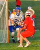 Cazenovia Lakers goalie Brendan Whalen (21) in net against Baldwinsville Bees Connor Smith (26) in Section III Boys Lacrosse action at the Sean M. Googin Memorial Sports Complex in Cazenovia, New York on Tuesday, May 10, 2016.  Cazenovia won 10-8.