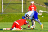Cazenovia Lakers Brice Basic (1) wins a face-off against Baldwinsville Bees Tanner McCaffery (2) in Section III Boys Lacrosse action at the Sean M. Googin Memorial Sports Complex in Cazenovia, New York on Tuesday, May 10, 2016.  Cazenovia won 10-8.